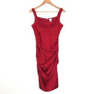 Cache | Candy Apple Red Ruched Detail Dress Fitted